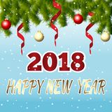 HAPPY NEW YEAR lettering 2018 on winter background with fir bran. Ches and Christmas balls. Vector illustration Stock Images