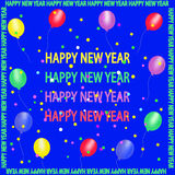 Happy new year. Letters, balloons, streamers on a purple background, vector stock illustration