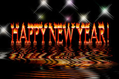 Happy new year letters in fire flooding water. On black background royalty free illustration