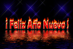 Happy new year letters fire flooding water. Happy new year spanish letters in fire flooding water on black background Royalty Free Stock Photos