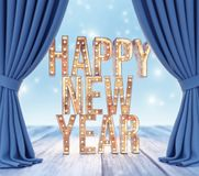 Happy New Year letters with lights behind the curtains royalty free stock images