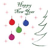 Happy New Year Letters on a white background with fir and decorative balls.  Royalty Free Stock Image
