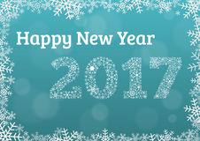 Happy new year 2017 light blue card with snowflake frame and yea. Happy new year 2017 light blue card card with snowflake frame and year 2017 made of white Royalty Free Illustration