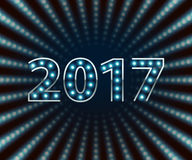 Happy New Year 2017 light bulb retro neon background. Calendar design typography vector illustration. Blue lights. Silver metallic number stock illustration