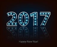 Happy New Year 2017 light bulb retro neon background. Calendar design typography vector illustration. Blue lights. Silver metallic number Stock Photos
