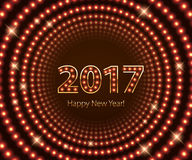 Happy New Year 2017 light bulb retro neon background. Royalty Free Stock Photography