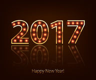 Happy New Year 2017 light bulb retro neon background. Royalty Free Stock Image
