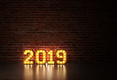 New Year 2019 - 3D Rendered Image. Happy New Year 2019 with Lights  - 3D Rendered Image Design Stock Images