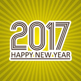 Happy new year 2017 like sticker on sunny stripped background eps10. Happy new year 2017 like sticker on sunny stripped background Stock Photo