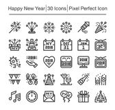Happy new year icon. Happy new year line icon set,editable stroke Royalty Free Stock Photography
