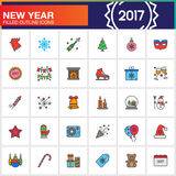 Happy New Year line icons set, filled outline vector symbol coll Stock Photo