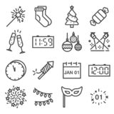 Vector Happy New Year line icons set. stock illustration