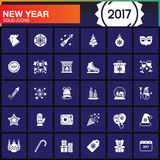 Happy New Year line icons set, outline vector symbol collection, Royalty Free Stock Photography