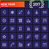 Happy New Year line icons set, outline vector symbol collection, Royalty Free Stock Images