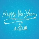 Happy New Year linear calligraphy hand drawn inscription on blue. Background. Elegant christmas winter steam. Simplicity art for greeting postcard or web Stock Image