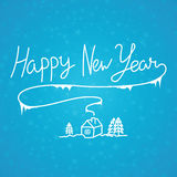 Happy New Year linear calligraphy hand drawn inscription on blue. Background. Elegant christmas winter steam. Simplicity art for greeting postcard or web Stock Photos