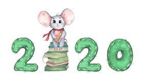 Happy New Year 2020 with little mouse sitting on a stack of books. Watercolor illustration
