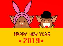 Happy new year 2019 with little pigs on red background - illustration concept. Happy new year 2019 little pigs red background illustration concept holiday royalty free stock photos