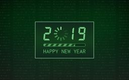 Happy new year 2019 with loading bar icon on abstract digital binary code and green color background. Happy new year 2019 with loading bar icon on abstract royalty free illustration