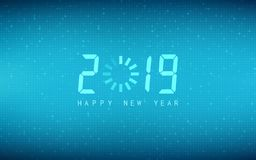 Happy new year 2019 with loading icon on abstract technology and blue color background. Happy new year 2019 with loading icon on abstract technology and blue stock illustration