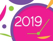 Happy new year loading progress soon 2019 vector illustration with colorful clock background. Happy new year loading progress soon 2019 vector illustration with stock illustration