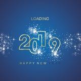 Happy New Year 2019 loading spark firework gold blue vector logo icon vector illustration