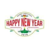 Happy new year logo banner. Flat style vector vector illustration