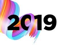 2019 Happy New Year Logo Design. Vector Background. 2019 Happy New Year Logo Design. Vector Background with Abstract Splash Shape. Colorful Illustration for stock illustration