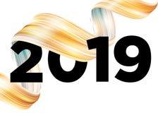 2019 Happy New Year Logo Design. Vector Background. 2019 Happy New Year Logo Design. Vector Background with Abstract Splash Shape. Colorful Illustration for royalty free illustration