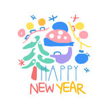 Happy New Year logo template colorful hand drawn vector Illustration. On a white background stock illustration