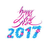 Happy new year logo and typography design. Flower sweet concept. file vector illustration