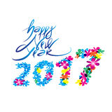 Happy new year logo and typography design. Flower sweet concept. file royalty free illustration