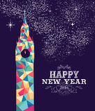 Happy new year 2016 London color triangle hipster. Happy new year 2016 greeting card or poster design with colorful triangle England monument and vintage label Stock Photography