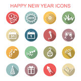 Happy new year long shadow icons Royalty Free Stock Images