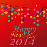 Happy new year. A lot of colored lightbulbs for this new year with text stock illustration