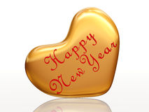 Happy New Year in love. 3d golden heart with text Happy New Year inside Stock Photo