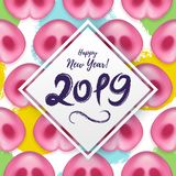 2019 Happy New Year lovely banner with Pattern of cute Pigs noses. Festive symbol of the Chinese 2019 New Year, Xmas. 2019 Happy New Year greeting banner with vector illustration