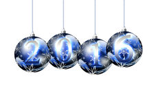 Happy New Year 2016. Luxurious blue sphere Christmas on an  white background. Christmas Greeting Card 2016.Bright winter background with beautiful  toy balls Royalty Free Stock Photo