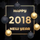 2018 Happy New Year luxury gold glitter greeting card vector snowflake background. 2018 Happy New Year gold glitter greeting card on black premium luxury Royalty Free Stock Image