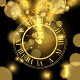 Gold New Years eve time luxury greeting card. Happy New Year luxury golden illustration, clock marking midnight time on black background stock illustration