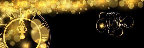 Gold New Years eve clock time luxury web banner. Happy New Year luxury golden web banner illustration, clock marking midnight time on black background stock illustration