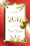 2017 Happy New Year. Luxury greeting card background with Glitter, Gold snowflakes, Christmas light, confetti, gold frame, light effect, gold metallic texture vector illustration
