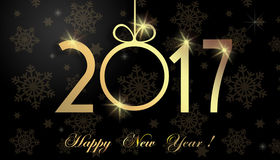 Happy New Year 2017. Luxury greeting card with paper gold symbols 2017. Background of the New Year Stock Image