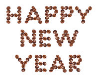 Happy New Year , made of beans coffee Royalty Free Stock Photo