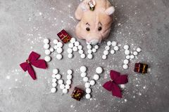 Happy new year 2019 made of berries, pig toy and christmas decoration. Bows, gifts stock photos