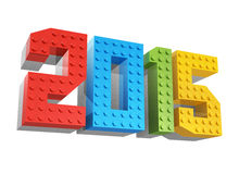 Happy new year 2015. Made of blocks for kids Royalty Free Stock Image