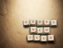 Happy New Year  made of computer keys, background Stock Images