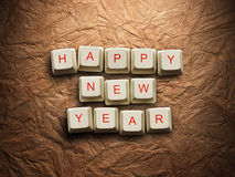Happy New Year made of computer keys, background Stock Photos