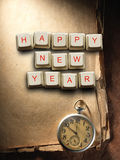 Happy New Year  made of computer keys and compass, background Stock Image