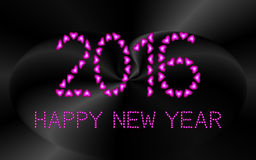 2016 Happy New Year made from pink hearts Royalty Free Stock Images